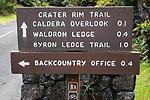 Kilauea Volcano National Park Trail Sign