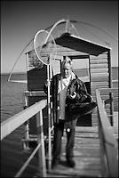 Europe/France/Pays de la Loire/44/Loire-Atlantique/La Plaine-sur-Mer: Philippe Vétélé chef de l'Hôtel-Restaurant: Anne de Bretagne, port de la Gravette  sur une pêcherie du littoral [Non destiné à un usage publicitaire - Not intended for an advertising use]