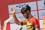 Mark Cavendish (GBR) Bahrain-Mclaren at sign on before Stage 1 of the UAE Tour 2020 running 148km from The Pointe to Dubai Silicon Oasis, Dubai. 23rd February 2020.<br /> Picture: LaPresse/Fabio Ferrari | Cyclefile<br /> <br /> All photos usage must carry mandatory copyright credit (© Cyclefile | LaPresse/Fabio Ferrari)