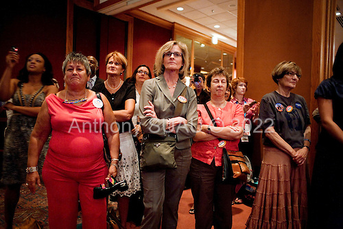 Denver, Colorado<br /> August 26, 2008.<br /> <br /> Women listen to Michelle Obama at Emily's List Gala Reception at the Sheraton Hotel.