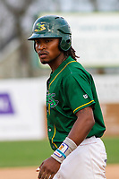 Beloit Snappers outfielder JaVon Shelby (5) gets the signs at third base during a Midwest League game against the Peoria Chiefs on April 15, 2017 at Pohlman Field in Beloit, Wisconsin.  Beloit defeated Peoria 12-0. (Brad Krause/Four Seam Images)