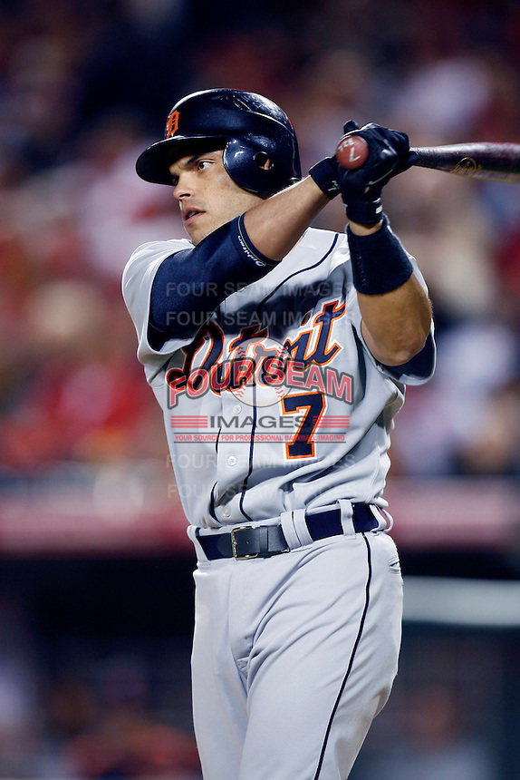 Ivan Rodriguez of the Detroit Tigers during a game against the Los Angeles Angels in a 2007 MLB season game at Angel Stadium in Anaheim, California. (Larry Goren/Four Seam Images)