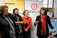 Anne Hidalgo - FrÈdÈrique Calandra - Erwan Kezzar - Christine Albanel - Inauguration de la fabrique Simplon.co dans le quartier Python-Duvernois ‡ Paris, France, le 21/02/2017.