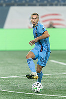 FOXBOROUGH, MA - SEPTEMBER 02: James Sands #16 of New York City FC passes the ball during a game between New York City FC and New England Revolution at Gillette Stadium on September 02, 2020 in Foxborough, Massachusetts.