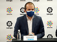 BOGOTA – COLOMBIA, 09-02-2021: Ernesto Lucena, Ministro del Deporte, durante el acuerdo Fair Play Financiero, que decidieron implementarlos 35 clubes del futbol colombiano que durara de dos a cuatro años. En este proceso se va a realizar el punto de equilibrio de los estados financieros de los clubes, se busca reducir la deuda de los clubes. / Ernesto Lucena, Minister of Sports, during the Financial Fair Play agreement, which decided to implement 35 Colombian soccer clubs that would last from two to four years. In this process, the balance point of the clubs' financial statements will be made, it seeks to reduce the debt of the clubs. / Photo: VizzorImage / Daniel Garzon / Cont.