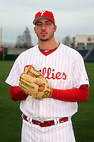 February 24, 2010:  Pitcher Phillippe Aumont (75) of the Philadelphia Phillies poses during photo day at Bright House Field in Clearwater, FL.  Photo By Mike Janes/Four Seam Images