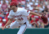 Arkansas reliever Kevin Kopps delivers a pitch Friday, June 4, 2021, during the fourth inning of the Razorbacks' 13-8 win over New Jersey Institute of Technology in the first game of the NCAA Fayetteville Regional at Baum-Walker Stadium in Fayetteville. Visit nwaonline.com/210605Daily/ for today's photo gallery.<br /> (NWA Democrat-Gazette/Andy Shupe)