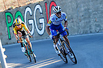 Julian Alaphilippe (FRA) Deceuninck-Quick Step attacks on the Poggio followed immediately by Wout Van Aert (BEL) Team Jumbo-Visma during the 111th edition of Milan- San Remo 2020, running 305km from Milan to San Remo, Italy. 8th August 2020.<br /> Picture: LaPresse/POOL/Bettini | Cyclefile<br /> <br /> All photos usage must carry mandatory copyright credit (© Cyclefile | LaPresse/POOL/Bettini)