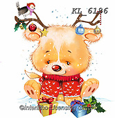 Interlitho-Fabrizio, Comics,CHRISTMAS ANIMALS, WEIHNACHTEN TIERE, NAVIDAD ANIMALES,, paintings+++++,bear,antlers,KL6186,#XA#, EVERYDAY,sticker,stickers