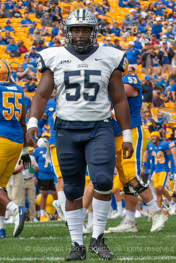 New Hampshire defensive lineman Duval Paul. The Pitt Panthers defeated the New Hampshire Wildcats 77-7 at Heinz Field, Pittsburgh, Pennsylvania on September 25, 2021.