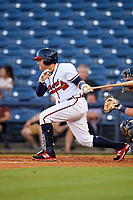 Mississippi Braves first baseman Jonathan Morales (9) grounds out in front of catcher Michael Barash (16) during a game against the Mobile BayBears on May 7, 2018 at Trustmark park in Pearl, Mississippi.  Mobile defeated Mississippi 5-0.  (Mike Janes/Four Seam Images)