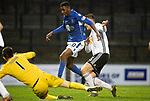 Ayr United v St Johnstone…..08.02.20   Somerset Park   Scottish Cup 5th Round<br />Izzy Jones is denied a goal by Sam Roscoe and Ross Doohan<br />Picture by Graeme Hart.<br />Copyright Perthshire Picture Agency<br />Tel: 01738 623350  Mobile: 07990 594431