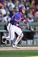 Right fielder Seth Beer (28) of the Clemson Tigers bats in the Reedy River Rivalry game against the South Carolina Gamecocks on Saturday, March 3, 2018, at Fluor Field at the West End in Greenville, South Carolina. Clemson won, 5-1. (Tom Priddy/Four Seam Images)