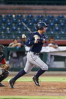 AZL Padres 2 right fielder Tirso Ornelas (33) follows through on his swing against the AZL Giants on July 13, 2017 at Scottsdale Stadium in Scottsdale, Arizona. AZL Giants defeated the AZL Padres 2 11-3. (Zachary Lucy/Four Seam Images)