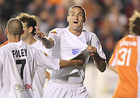 Marco Velez #4 of the Puerto Rica Islanders complains to the referee during the second leg of the USSF-D2 championship match against theCarolina Railhawks at WakeMed Soccer Park, in Cary, North Carolina on October 30 2010. The game ended 1-1, Puerto Rico won 3-1 on overall goals.