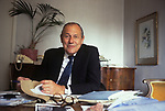 Reginald Maudling portrait British Conservative politician at home, Home Counties 1970s UK.