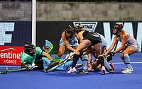 Kelsey Smith attacks the goal during the Pro League Hockey match between the Blacksticks women and Argentina, Nga Punawai, Christchurch, New Zealand, Friday 28 February 2020. Photo: Simon Watts/www.bwmedia.co.nz