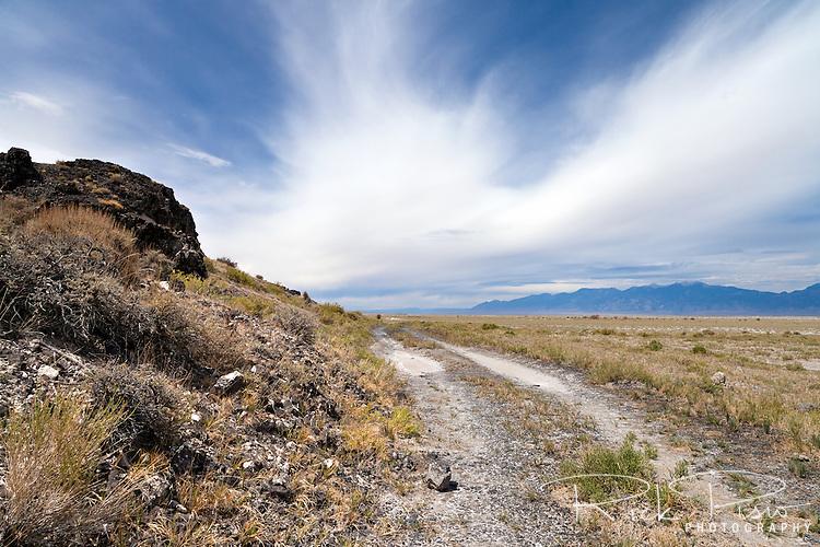 Pre-1918 alignment of the Lincoln Highway in Utah's Great Salt Lake desert.
