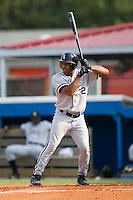 Bristol left fielder Jordan Cheatham (32) at bat versus Burlington at Burlington Athletic Park in Burlington, NC, Sunday, August 26, 2007.