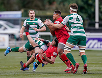 Roy Godfrey of Jersey Reds (2nd right) during the Championship Cup QF match between Ealing Trailfinders and Jersey Reds at Castle Bar, West Ealing, England  on 22 February 2020. Photo by David Horn.