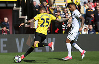 Jose Holebas of Watford is challenged by Luciano Narsingh of Swansea City during the Premier League match between Watford and Swansea City at Vicarage Road Stadium, Watford, England, UK. Saturday 15 April 2017