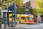 Portland Streetcar crossing Montgomery St near PSU in Portland, OR.