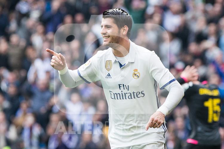 Alvaro Morata of Real Madrid celebrates after scoring a goal during the match of La Liga between Real Madrid and RCE Espanyol at Santiago Bernabeu  Stadium  in Madrid , Spain. February 18, 2016. (ALTERPHOTOS/Rodrigo Jimenez)
