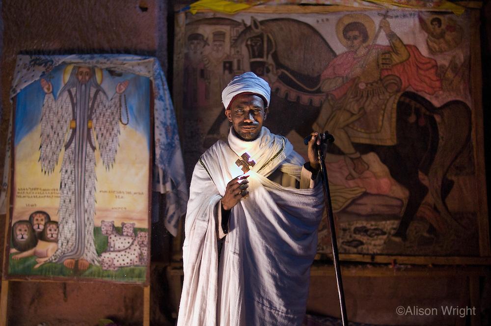 Ethiopia, Omo Valley. Priest, (Kase Demia Kebede), at House of Merkorious church.