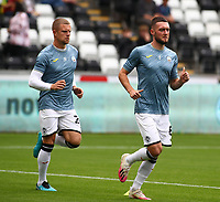 25th September 2021; Swansea.com Stadium, Swansea, Wales; EFL Championship football, Swansea versus Huddersfield; Matt Grimes of Swansea City leads the warm up