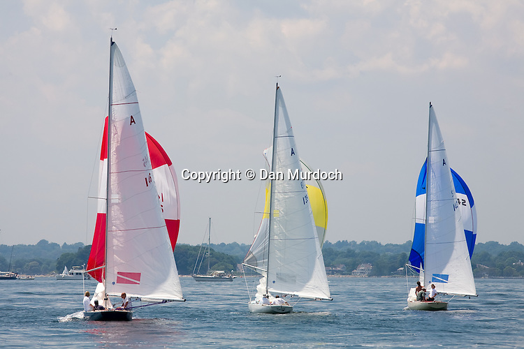 Racing sailboats with spinnakers set