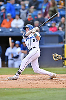 Asheville Tourists center fielder Will Golsan (8) swings at a pitch during a game against the Augusta GreenJackets at McCormick Field on April 5, 2019 in Asheville, North Carolina. The  Tourists defeated the GreenJackets 5-0. (Tony Farlow/Four Seam Images)