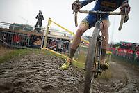 Michael Vanthourenhout (BEL) skidding in the mud<br /> <br /> 2014 Noordzeecross