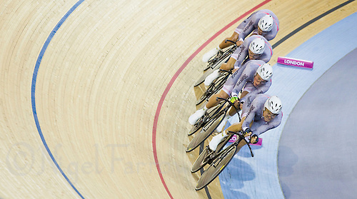 19 FEB 2012 - LONDON, GBR - Australian's Jack Bobridge, Rohan Dennis, Alexander Edmondson and Michael Hepburn (all AUS) race to victory over Great Britain in the Team Pursuit final at the UCI Track Cycling World Cup and London Prepares test event for the 2012 Olympic Games  in the Olympic Park Velodrome in Stratford, London, Great Britain (PHOTO (C) 2012 NIGEL FARROW)