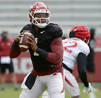 Arkansas quarterback KJ Jefferson looks to pass Saturday, April 3, 2021, during a scrimmage at Razorback Stadium in Fayetteville. Visit nwaonline.com/210404Daily/ for today's photo gallery. <br /> (NWA Democrat-Gazette/Andy Shupe)