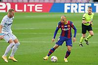 19th December 2020; Camp Nou, Barcelona, Catalonia, Spain; La Liga Football, Barcelona versus Valencia;  Braithwaite of Barcelona pulls the ball back from Racic of Valencia