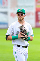 Clinton LumberKings first baseman Ryan Costello (13) warms up in the outfield prior to a Midwest League game against the Lansing Lugnuts on July 15, 2018 at Ashford University Field in Clinton, Iowa. Clinton defeated Lansing 6-2. (Brad Krause/Four Seam Images)