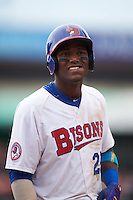 Buffalo Bisons center fielder Junior Lake (22) during a game against the Louisville Bats on June 23, 2016 at Coca-Cola Field in Buffalo, New York.  Buffalo defeated Louisville 9-6.  (Mike Janes/Four Seam Images)