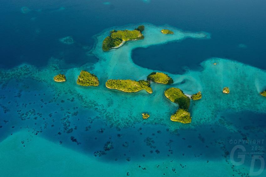 AERIAL OF THE ROCK ISLANDS PALAU, MICRONESIA, NEAR THE 70 ISLANDS