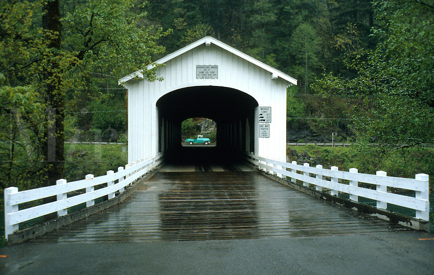Approach to Goodpasture Covered Bridge in Western Oregon. Oregon.
