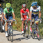 Alberto Contador (w), Joaquin Purito Rodriguez (r) and Alejandro Valverde during the stage of La Vuelta 2012 between Gijon and Valgrande-Pajares (Cuitu Negru).September 3,2012. (ALTERPHOTOS/Paola Otero)