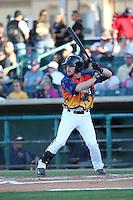 Sean McMullen (29) of the Lancaster JetHawks bats during a game against the High Desert Mavericks at The Hanger on September 5, 2015 in Lancaster, California. High Desert defeated Lancaster 7-6. (Larry Goren/Four Seam Images)