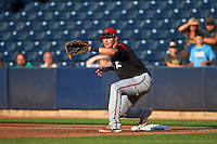Richmond Flying Squirrels first baseman Ryder Jones (8) stretches for a throw during a game against the Akron RubberDucks on July 26, 2016 at Canal Park in Akron, Ohio .  Richmond defeated Akron 10-4.  (Mike Janes/Four Seam Images)