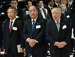 November 30, 2011, Tokyo, Japan - The top brass of Japans Suzuki Motor Co. is on hand for a press preview of the Tokyo Motor Show on Wednesday, November 30, 2011. They are, from left: Vice Presidents Osamu Honda and Minoru Tamura, and President Osamu Suzuki...Suzuki decided to cancel its partnership with Volkswagen and vowed to buy back its shares held by the German automaker. Suzuki and Volkswagen forged a capital tie up in late 2009 under which the German partner acquired shares in the Japanese manufacturer for roughly $2.4 billion. The German car maker said it has no plans to sell its stake, which has declined nearly 30% in value.(Photo by Natsuki Sakai/AFLO) [3615] -mis-.