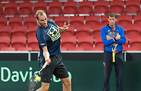 The Hague, The Netherlands, September 11, 2017,  Sportcampus , Davis Cup Netherlands - Chech Republic, training, Thiemo de Bakker (NED) in the background<br /> captain Paul Haarhuis<br /> Photo: Tennisimages/Henk Koster