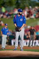 South Bend Cubs starting pitcher Ryan Williams (7) gets ready to deliver a pitch during a game against the Kane County Cougars on July 21, 2018 at Northwestern Medicine Field in Geneva, Illinois.  South Bend defeated Kane County 4-2.  (Mike Janes/Four Seam Images)