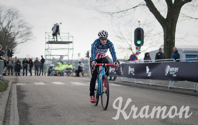 Katie Kompton (USA) on her way to the start<br /> <br /> women's race<br /> CX Soudal Classics Leuven/Belgium 2017