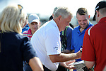 Colin Montgomerie speaking with fans and signing autographs ahead of a press conference this morning at The Senior Open Golf Tournament at The Royal Porthcawl Golf Club in South Wales, which begins tomorrow.
