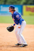 Kingsport Mets first baseman Dash Winningham (10) on defense against the Greeneville Astros at Hunter Wright Stadium on July 7, 2015 in Kingsport, Tennessee.  The Mets defeated the Astros 6-4. (Brian Westerholt/Four Seam Images)