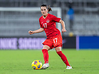 ORLANDO, FL - FEBRUARY 21: Jessie Fleming #17 of Canada passes the ball during a game between Canada and Argentina at Exploria Stadium on February 21, 2021 in Orlando, Florida.