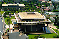 Aerial shot of the Hawaii State Capitol building in downtown Honolulu.
